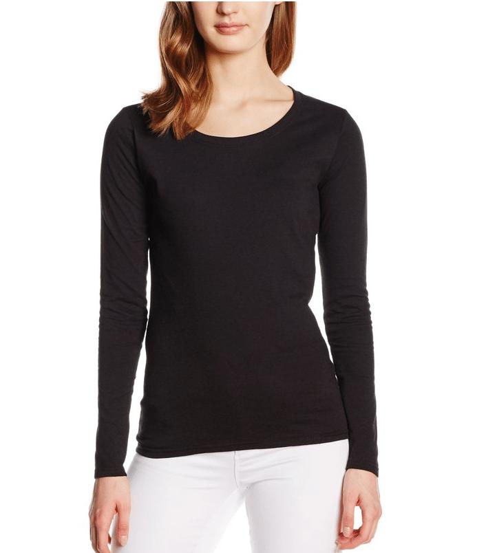 Langermet T-skjorte fra Fruit of the Loom - kvinnemodellen